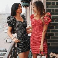 Kadınlar Seksi Kısa Kollu Kayış Elbise Clubwear Yaz Baskı Bodycon İnce Parti Mini Elbiseler Polka Dot Tops