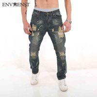 ENVMENST DENIM Jumpsuit Vêtements Vêtements Rockstar Ankle Fermeture à glissière Détruite Jeans déchirés maigre pour les hommes