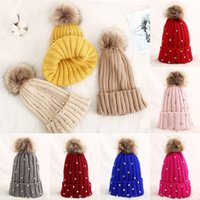Girls Knitted Pompon Hat Ski Warms Party Hats Winter warm rhinestone knitted cap Winter Children keep-Warm Wool Caps by sea T9I001536