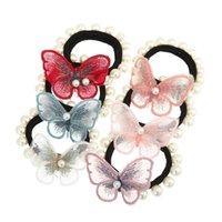 Kelebek Inci Elastik Saç Bantları Saç Aksesuarları Kadınlar Kız At Kuyruğu Tutucu Scrunchie Bandı
