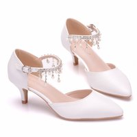 Dress Shoes Women's high heels crystal queen, thin-heel spare shoes two inches white with rhinestones. VYU0