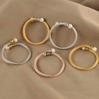 Açık inci bilezik titanyum çelik tel bilezik erkekler ve kadınlar için moda takı altın paslanmaz çelik tel bilezik kadın bileklik 1262 Q2