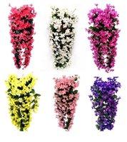 Nouveau Faux Floral Fashion Violet Fleurs artificielles Mur Suspending Panier Fleur Orchid Soye Couronnes Vigne Accueil Mariage Party Street Light EWD653