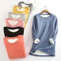Winter Women Thick Fleece Sweatshirt Velvet Warm Solid O-neck Underwear Blouse Top Women's Hoodies & Sweatshirts