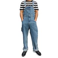 Dimensione 30 - 46 2021 Tuta classica Bib Uomini Jeans Jeans Tute Denim Tute Big Pocket Straight Cowboy Cowboy Cowboy Pantaloni Blu Pantaloni Blu Uomo