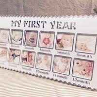 Neugeborenen 12 Monate Baby Wachstum Memorial Foto Bilderrahmen Mein erstes Jahr Geburtstagsgeschenk Home Raum Wanddekoration Drop 884 V2