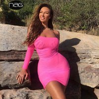 Newasia Biquinis 해변 드레스 여름 드레스 여성 섹시한 어깨 측면 Drawstring 메쉬 드레스 네온 핑크 Streetwear 210413