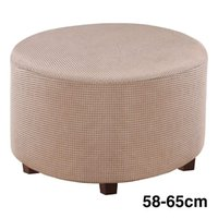 Chair Covers Round Ottoman Slipcover High Stretch Washable Footstool Protector Cover Home With Elastic Bottom Solid Modern Living Room