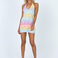 Casual Dresses Women Sexy Bandage Halter Knitted Dress Rainbow Color V-neck Slim Fit Short Female Summer Skinny S-XL