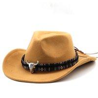 레트로 여성 남성 양모 서쪽 카우보이 모자 패션 와이드 브림 신사 재즈 볼링 캡 솜브레로 모자