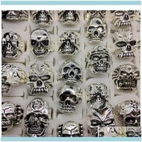 Band Jewelrywholesale Lotti Top 50pcs Vintage Skull Scoved Moto Bicicletta Mens Sier Placcato Anelli Gioielli Tutto Big Size Ocjry Drop Consegna 2021 4Rog9