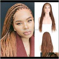 Charisma Brown-Perücken geflochtene Kastenzöpfe mit Baby-Haar-synthetischen Frontperg für Frauen lange Spitze FGJMG NCWYI