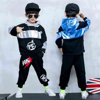 Fashion Boys Sport Sets Loose Hooded Coats and Trousers Spring Autumn Teenage Boy Clothing Set 4 8 12Years Sweatshirts Suits 210622