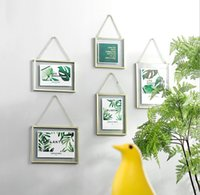 DIY 교수형 골드 프레임 잎 아트 금속 체인 벽 유리 그림 사진 꽃 표본 건조 식물 4x4 4x6 5x7