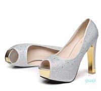 Chaussures de mariage en argent paillettes Diamant doré strass sexy talons hauts princesse promesse balle chaussures taille 34 à 39 yl000-