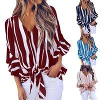 Mulheres blusas senhoras moda impresso sexy v-pescoço chiffon listrado knotted casual top feminino camisas blusas tops blusas femme y0606