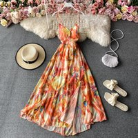 Casual Dresses Joinyouth Sexy Woman Dress Summer Backless Robe Slim Waist Floral Chiffon Maxi Women Elegant Sling Party Vestidos Mujer