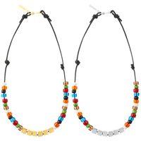 Embuscade lettres carrées colorées vitrées perles collier hip hop personnalité mode hommes et femmes couples bijoux