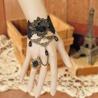 Fashion Victorian Dress Costume Gothic Black Rose Lace Lolita Donne Braccialetto Fea889 Braccialetti di fascino