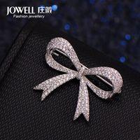 Luxo Rhinestone Wedding Wedding Bow Nó Brooch Pin Vestido Sash Pins Noite Bouquet Buquê Bouquet Broches Presente de Jóias Mujer1 741 T2