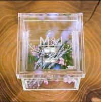 Andere evenementenfeest levert acryl trouwring box verlovingsvoorstel, aangepaste drager hoofdkussen gepersonaliseerde decor bruids douchegift