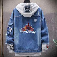 Men's Jackets Malt Whiskey Denim Jacket Plus Size Men Alcohol Drunk Cotton Jean Hip Hop Streetwear Autumn Jeans Motorcycle Coat