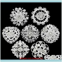 Pins, Brooches Jewelry! Flower Heart Rhinestone Sier Plated Brooch Pin Wedding Bridal Broach Breastpin Drop Delivery 2021 Gpqax