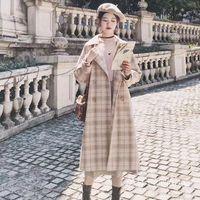 Women's Wool & Blends Students Autumn Cape Coat Women Loose Long Cardigan Vintage Thickening Korean Plaid Woolen Designer Jacket Female Cloa