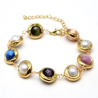 """GuaiGuai Jewelry 15mm Multi Color Faceted Cat Eye White Keshi Pearl Gold Color Plated Edge Wrap Chain Bracelet 8"""" Handmade For Women"""