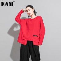 EAM Женщины Красный Нерегулярный Сплит Соединение Большой Размер Футболка Новый Круглая Шея С Длинным Рукавом Мода Прилив Весна Осень 2021 1da605