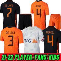 20 21 Holanda 2020 Mens Jersey Kit Kit de Ligt Soccer Jersey Memphis Soccer Jersey Holland Klaassen Gullit 2021 Wijnaldum Promes de Jong Virgil Van de Beek