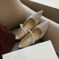 Baily الباليه الأحذية المسطحة جوهرة منمق مرصع خلخال حجر الراين مطرز لؤلؤة أشار أصابع القدم مصممي الفاخرة الأحذية ماري جين الانزلاق على الأحذية المصنع