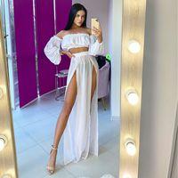 Casual Dresses Cover Up Women Sets Swimsuit Chiffon Split Beach Swimwear Female Beachwear Bathing Suits ups