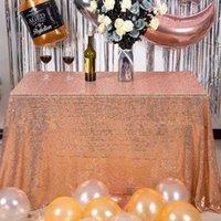 1 ADET Gül Altın / Gümüş / Şampanya Pullu Masa Örtüsü Glitter Rectangleround Masa Örtüsü Düğün Dekorasyon Parti Ev Için Kapak