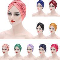 Paillettes africani Turban Caps Women Hijabs pronto già realizzato Auto Gele Headtie Head Wrap musulmano foodscarf cover cover per cavigliere