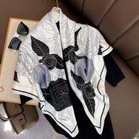 Lenços 2021 90 cm Silk Lenço Mulheres Grande Square Shawls Designer Floral Imprimir Senhora SenhoraScarf Feminino Filho Feminino Pashmina Headband Wraps