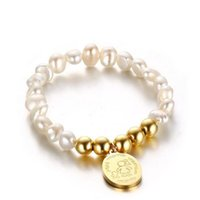 16.5CM Freshwater Pearl Bracelets Bangles For Women Stainless Steel Gold Plating Beads Circular Ornament Charm Bracelet Jewelry Bangle