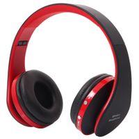 NX 8252 سماعات رأس لاسلكية قابلة للطي الرياضية ستيريو سماعة بلوتوث مع مايكروفون لآيفون باد الكمبيوتر أحدث تقنية DSP رقاقة CSR المتقدمة المعتمدة باللون الأحمر
