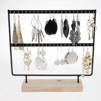 Wood Metal Earrings Storage Holder Jewelry Display Stand Necklaces Bracelets Pendants Wooden Base Jewellery Rack #T2G Boxes & Bins