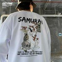 Hybskr Harajuku Sweats-Sweats surdimensionnés Hommes Japonais Cat Print Hiver Chaud Streetwear Polaire Hip-Hip Hop Hop