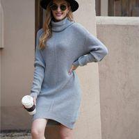 Women's Sweaters Plus Size Women Turtleneck Womens Casual Pullovers Solid Long Sleeve Korean Top Winter Knitted Oversized Sweater Dress