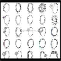 Band Rings Доставка 2021 25 Стиль Мода Прибыл Sier Charms 6 Цветовое Капля Масло Жемчужины DIY Полное Кристаллическое Кольцо для Женщин Ювелирные Изделия WGND0