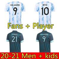 Argentinien Fußball-Jersey-Fans und Spieler-Version 2021 Copa America Messi Dybala Aguero Football Shirt Männer + Kinder-Kit Sets Uniformen 20 21