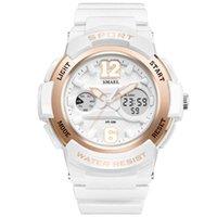 Наручные часы SMAEL Женщины Часы Белый PU Watchband двойной дисплей Кварцевые моды спортивные дамы 30 м водонепроницаемый