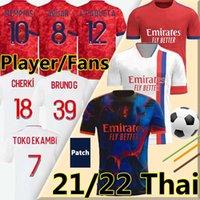 Maillot de Lyonnais 2021 2022 Jerseys de fútbol Lyon 4th Memphis Dembele Toko Ekambi 21/22 Ol Digital Bruno G Cherki Aouar Hombres Kit Kit Kit Cuarto Fútbol Camisa