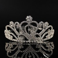 Hair Clips & Barrettes Silver Crystals Wedding Tiaras Beaded Bridal Crowns Rhinestone Head Pieces Comb Accessories Pageant Tiara