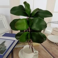 Real Touch Artificial Green Butterfly Orchid Plastic Leaf Beauty Plant Home Decor For Wedding 1PC DIY Gift Decorative Flowers & Wreaths