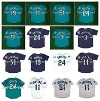 1994 1997 Retro 24 Ken Griffey Jr. Jersey 3 Alex Rodriguez 19 Jay Buhner 51 Ichiro Suzuki 11 Edgar Martinez costurado verde branco cinza azul vintage beisebol