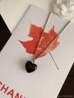 럭셔리 디자이너 쥬얼리 여자 목걸이 펜던트 더블 문자 C 검은 마음 원래 상자와 수지 구리 패션 18K 금 도금
