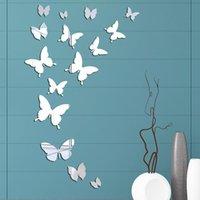 벽 스티커 거울 아크릴 스티커 3D 나비 방 장식 욕실 방수 스티커 DIY 미러링 된 시트 벽화